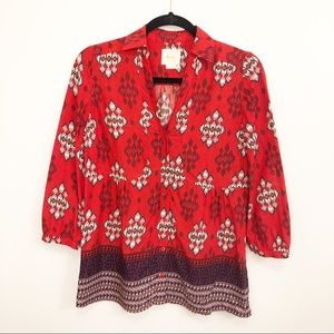 Anthropologie   MAEVE Red Tribal Print Button Down